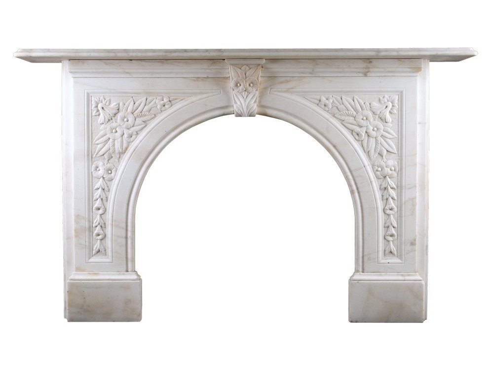 An Antique Victorian Arched Fireplace, Antique Victorian Fireplace Surround